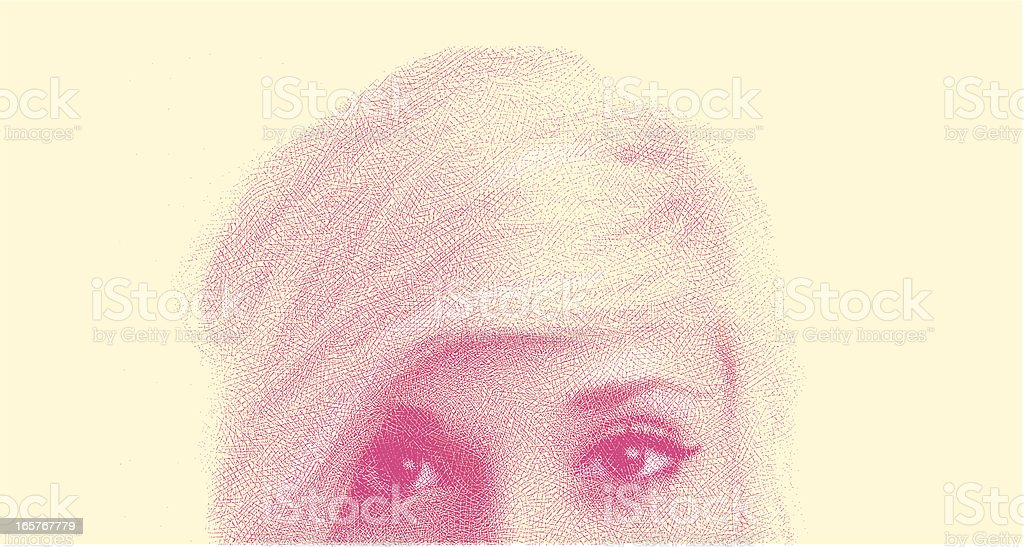 Close-Up Of Woman's Face vector art illustration