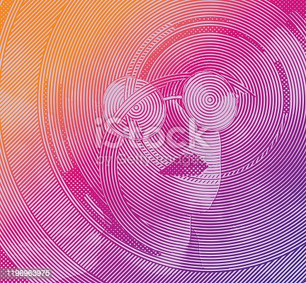 istock Close-up of woman's face with cloud patterns 1196963975