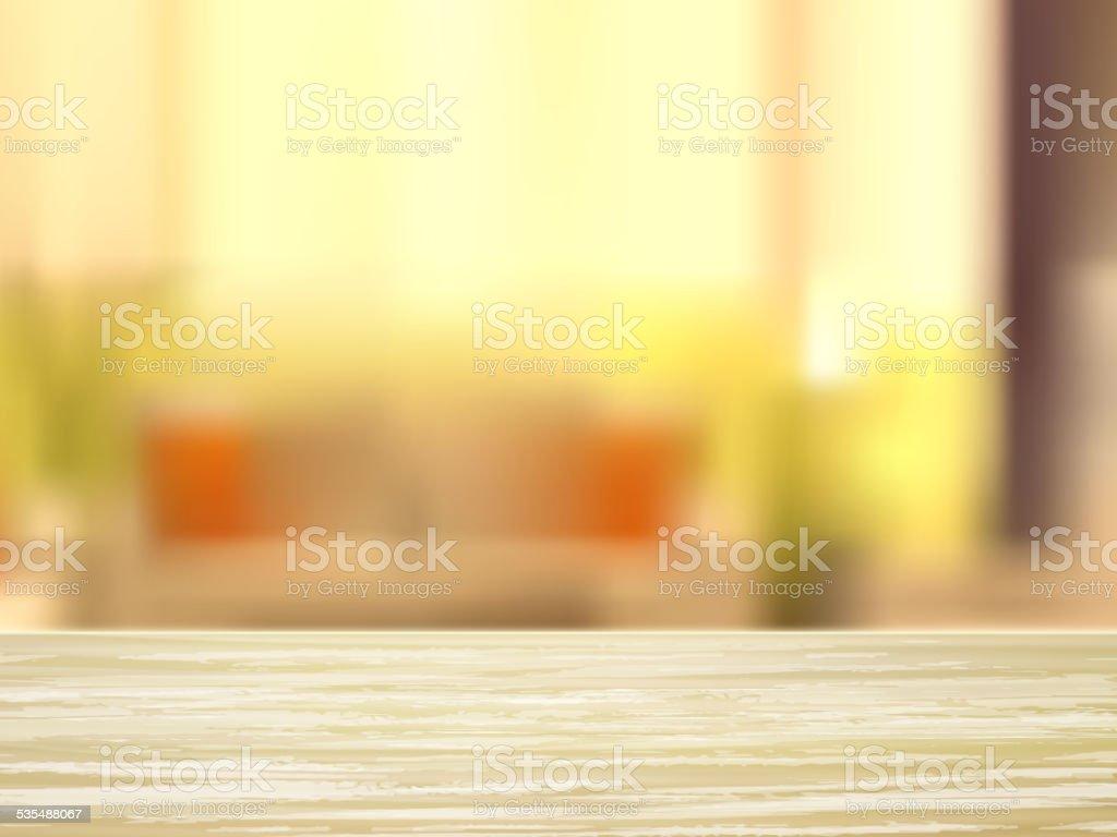 closeup of wooden desk and interior vector art illustration