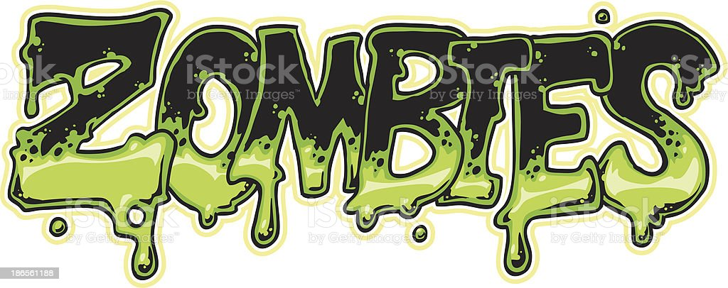Close-up of zombies in green and black font vector art illustration