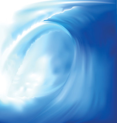 Closeup painting of a wave in blue and white