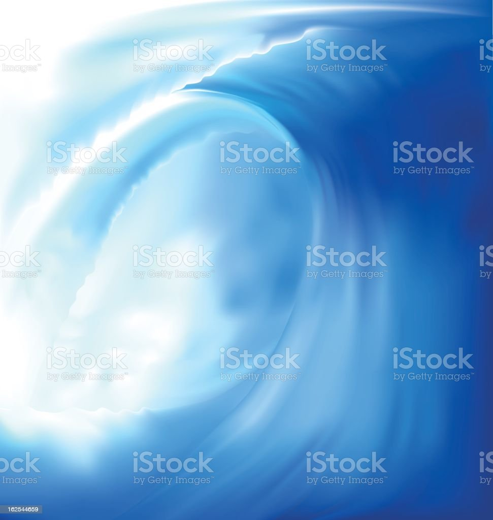 Closeup painting of a wave in blue and white vector art illustration