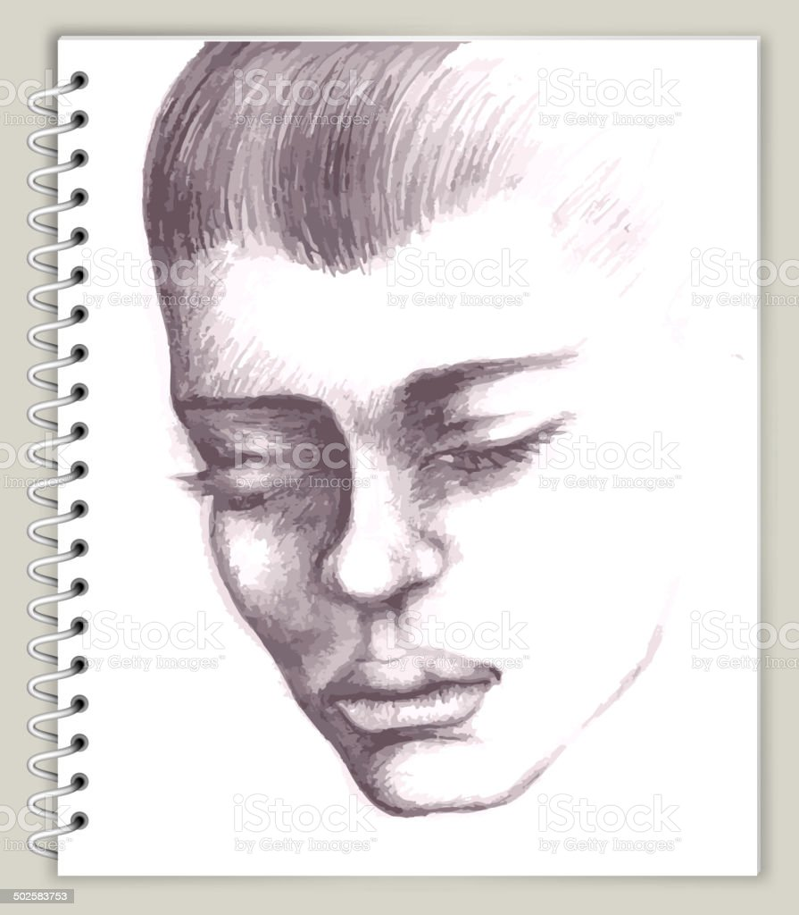 Closeup Profile Drawing on Art Sketcbook royalty free vector art vector art illustration