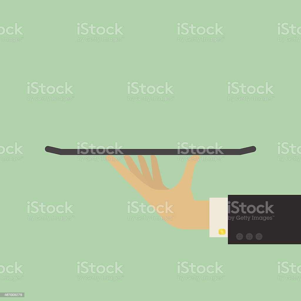 A close-up vector illustration of a waiter holding a tray vector art illustration