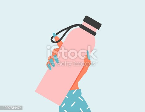 Closeup Woman holding a reusable water bottle. World Environment day and Earth day concept. Empty Glass bottle in woman hand. Zero waste flat illustration. Woman hand holding a drinking water bottles.