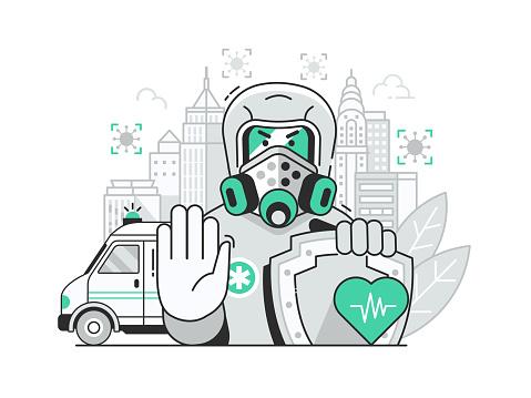 Closing City Border for Virus Quarantine Concept