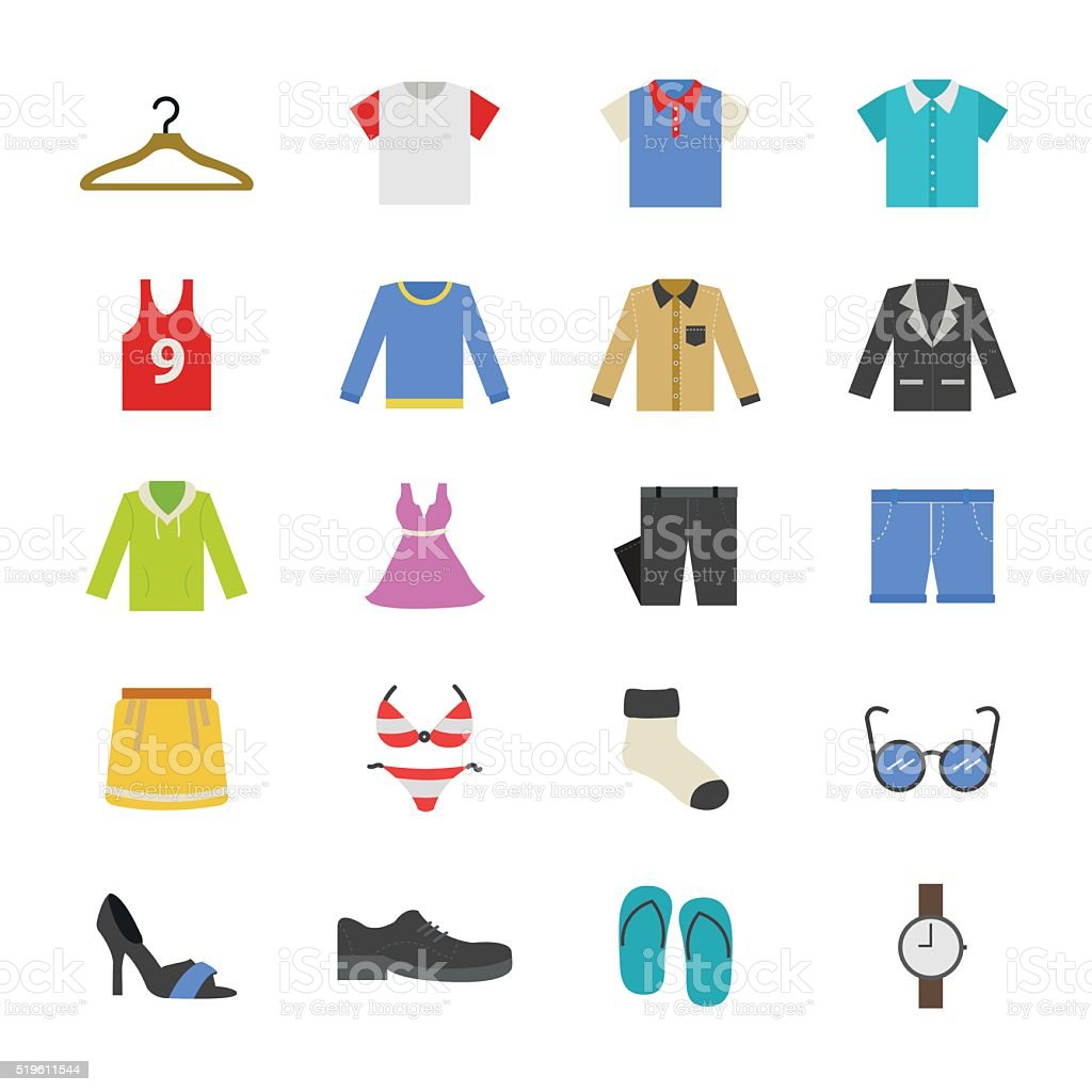 Cloth and Accessory Flat Color Icons vector art illustration