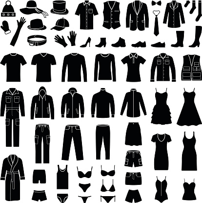 Cloth and fashion icon collection - vector silhouette