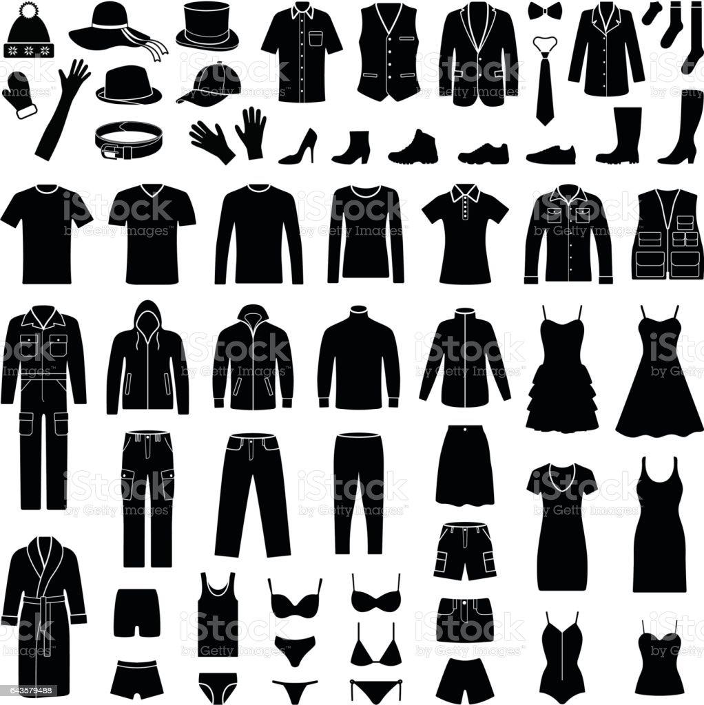 Colección de iconos de moda y paño - silueta vector - ilustración de arte vectorial