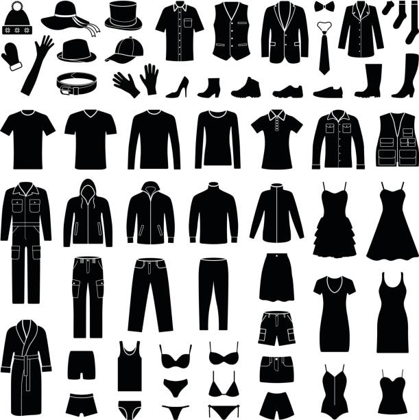 布和時尚圖示集合-向量剪影 - 衣服 幅插畫檔、美工圖案、卡通及圖標