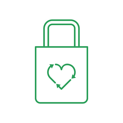 Cloth bag with recycle heart symbol. Love recycling concept. Cotton bag. Line icon.