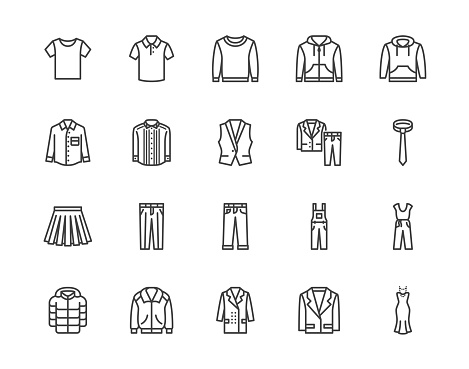 Cloth flat line icons set. Apparel - jacket, hoody, sweatshirt, male pants, polo shirt, jeans, coat, tie vector illustrations. Outline signs for fashion store. Pixel perfect 64x64. Editable Strokes