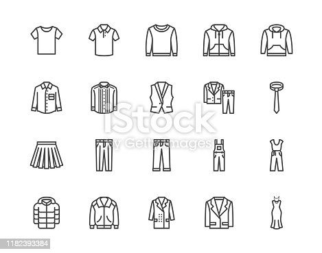 Cloth flat line icons set. Apparel - jacket, hoody, sweatshirt, male pants, polo shirt, jeans, coat, tie vector illustrations. Outline signs for fashion store. Pixel perfect 64x64. Editable Strokes.