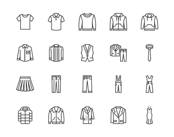 tkaniny płaskie ikony linii zestaw. odzież - kurtka, bluza z kapturem, bluza, spodnie męskie, koszula polo, dżinsy, płaszcz, ilustracje wektorowe krawata. zarys znaków dla sklepu z modą. pixel doskonały 64x64. edytowalne obrysy - odzież stock illustrations