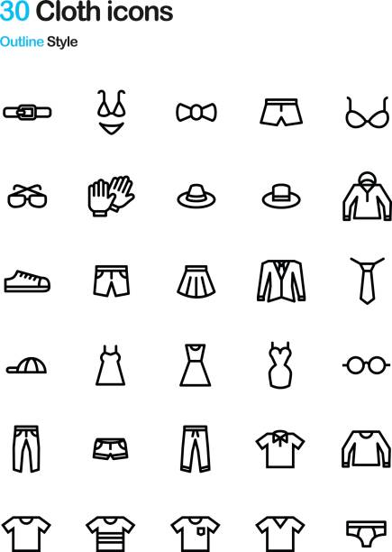 Bекторная иллюстрация Cloth Outline Icon Pack