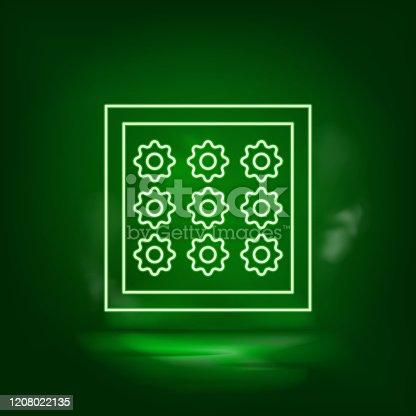 Cloth piece, cotton accessory green neon icon - Vector.