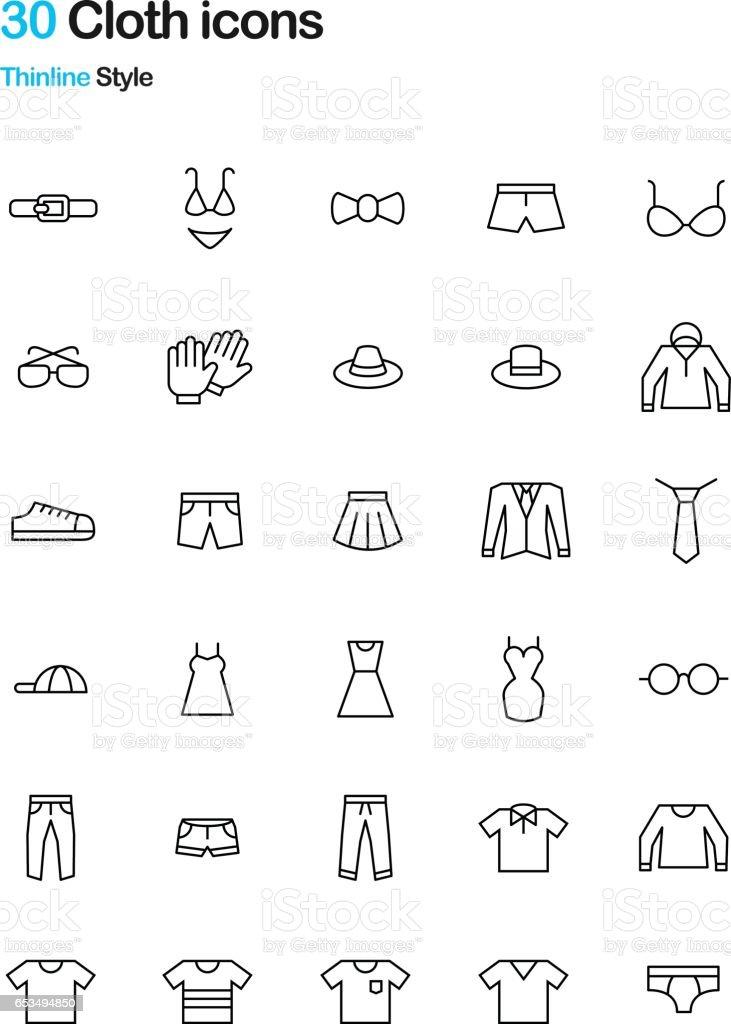 Cloth Thinline Icon Pack векторная иллюстрация