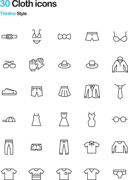 Bекторная иллюстрация Cloth Thinline Icon Pack