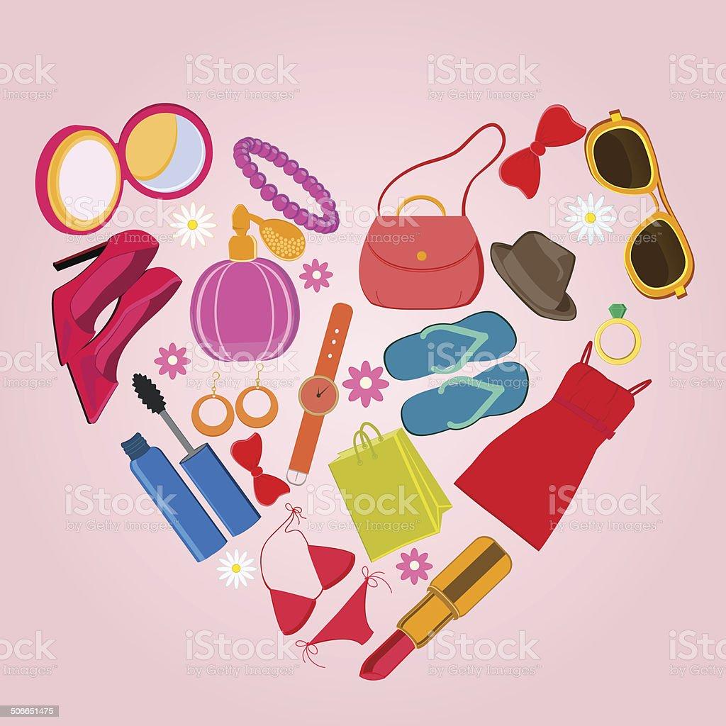 24e75bee4 Ropa, accesorios y cosméticos para mujer ilustración de ropa accesorios y cosméticos  para mujer y