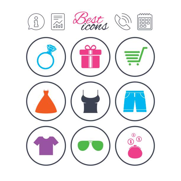 Clothes, accessories icons. Shopping signs. vector art illustration