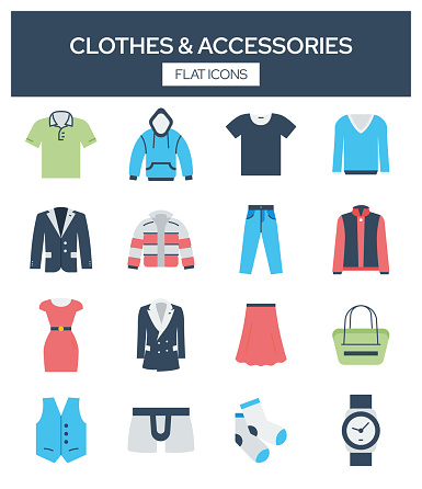 Clothes and Accesories Related Modern Flat Icons Vector Collection