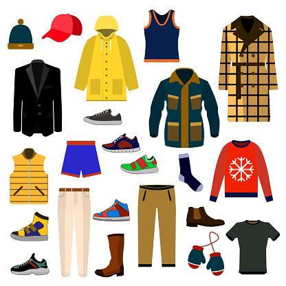 의류 및 액세서리 패션 큰 아이콘 세트입니다 남자 옷 벡터 일러스트 아이콘 세트 가방에 대한 스톡 벡터 아트 및 기타 이미지