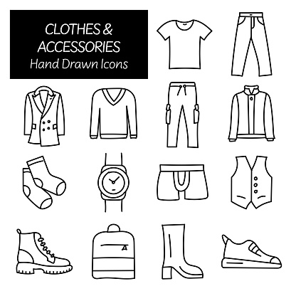 Clothes and Accessories Related Hand Drawn Icons, Doodle Elements Vector Illustration