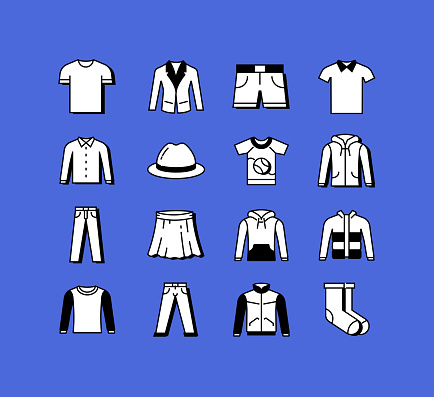 Clothes and Accessories Related Icons Vector Collection. Modern Style Symbol Vector Illustration