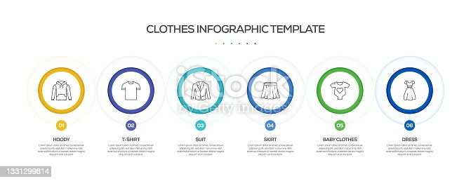 istock Clothes and Accessories Related Process Infographic Template. Process Timeline Chart. Workflow Layout with Linear Icons 1331299814