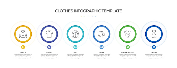 Clothes and Accessories Related Process Infographic Template. Process Timeline Chart. Workflow Layout with Linear Icons