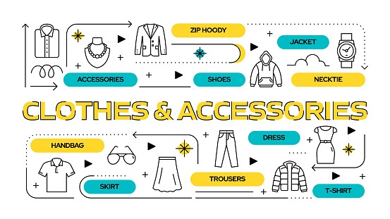 Clothes and Accessories Related Vector Banner Design Concept, Modern Line Style with Icons