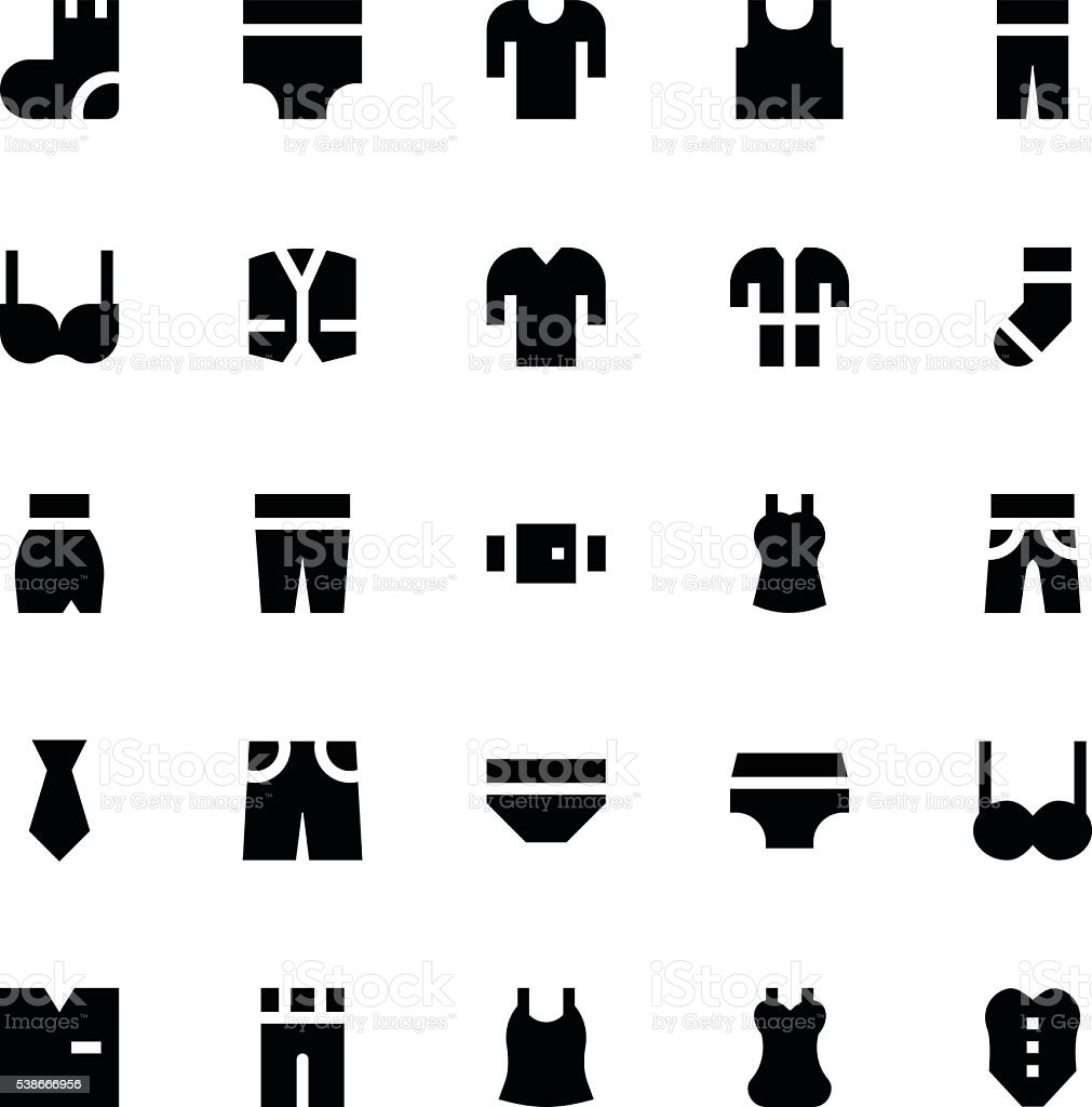 Clothes, Apparel and Garments Vector Icons 1 vector art illustration