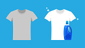 Advertising of washing powder and detergent. Clothes before and after wash. Flat blank and dirty gray t-shirt. Mock up of white shirts isolated on blue background.