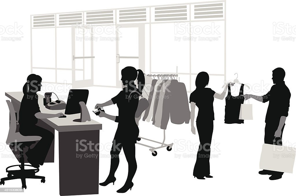 Clothes Cashier Vector Silhouette vector art illustration