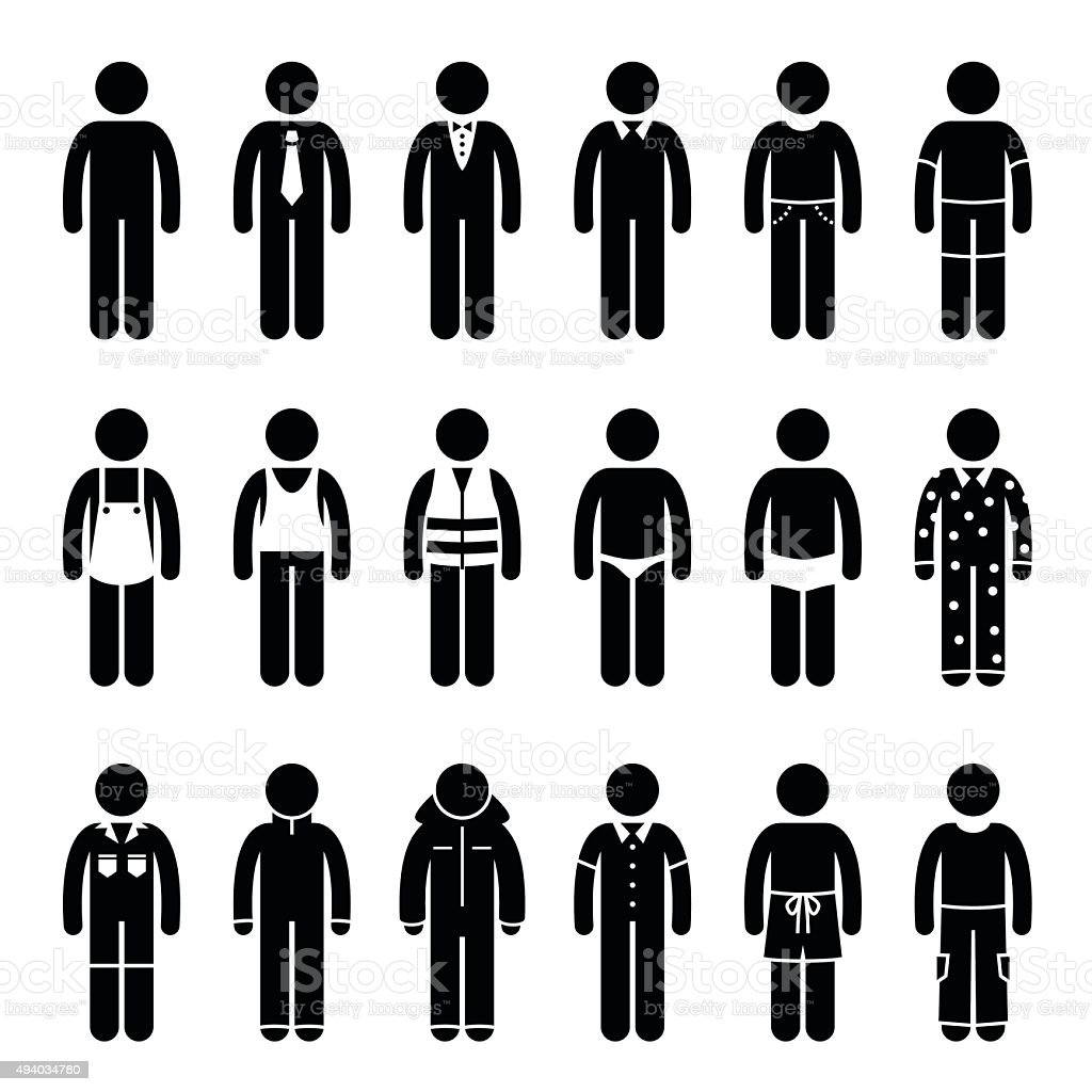 Clothes Clothing Attire for Different Occasions, Time, and Activity Pictogram vector art illustration