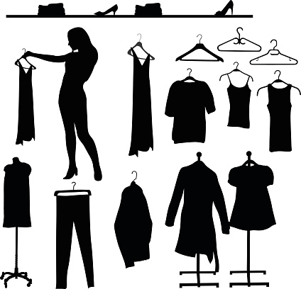 A vector silhouette illustration of women's clothes on hangers including dresses, pants, blouses, tank tops, and sweaters. A woman holds up a blouse for better viewing.  There is a shelf of shoes and folded clothes.