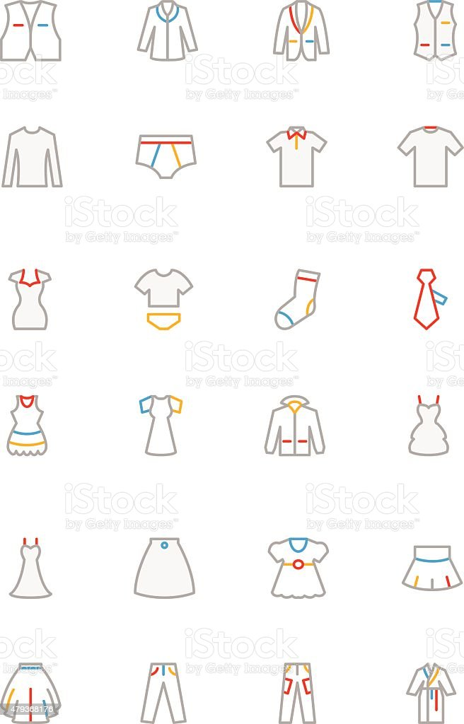 Clothes Colored Line Icons 2 vector art illustration