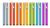 Clothes Colorful Zip Collection Closed Positions. Vector