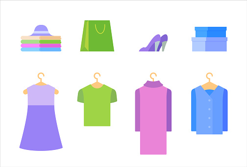 Clothes design elements isolated on a white background.