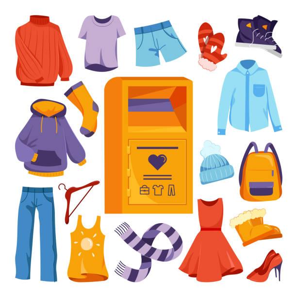 stockillustraties, clipart, cartoons en iconen met kleding donatie ontwerpelementen. vector platte cartoon illustratie. city container box voor tweedehands kleding, schoenen donaties - clothes