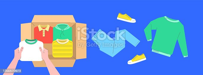 istock Clothes donation flat lines concept with open box 1200570923