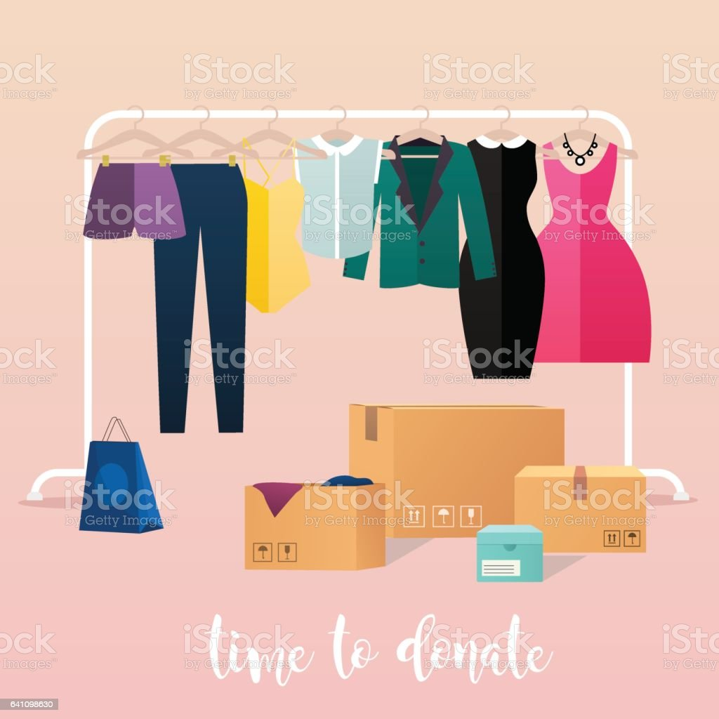 Clothes donation. Girl makes clothes donations. Boxes full of clothes. vector art illustration