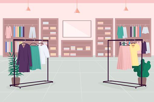 Clothes emporium flat color vector illustration