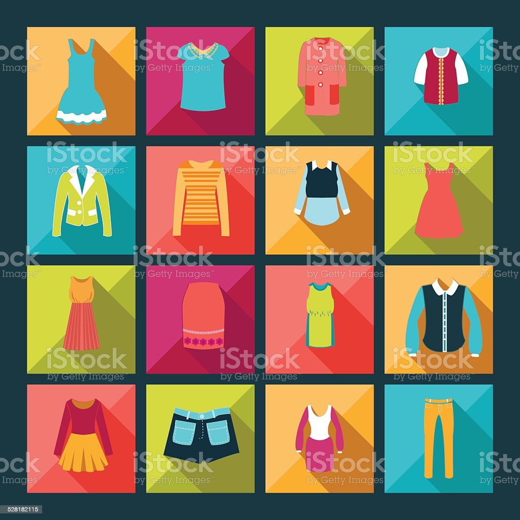 Kleidung flache Vektor-icons-set-Illustration – Vektorgrafik