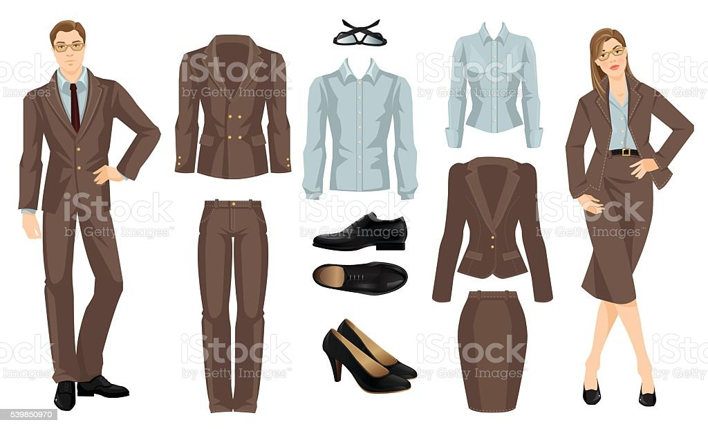 Clothes for business people. vector art illustration