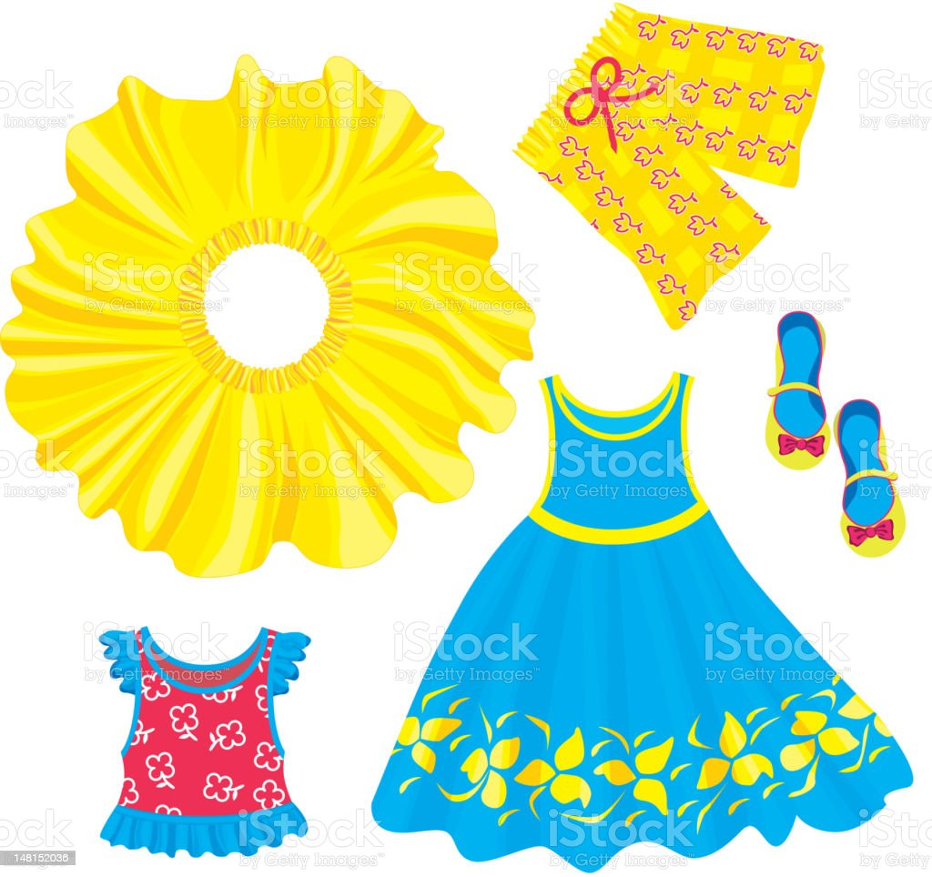 Clothes for little girls royalty-free stock vector art