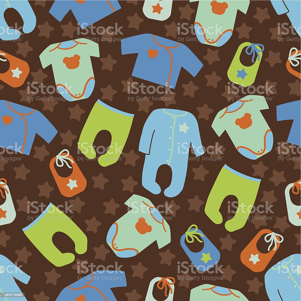 Clothes for newborn baby boy seamless pattern.Baby fashion