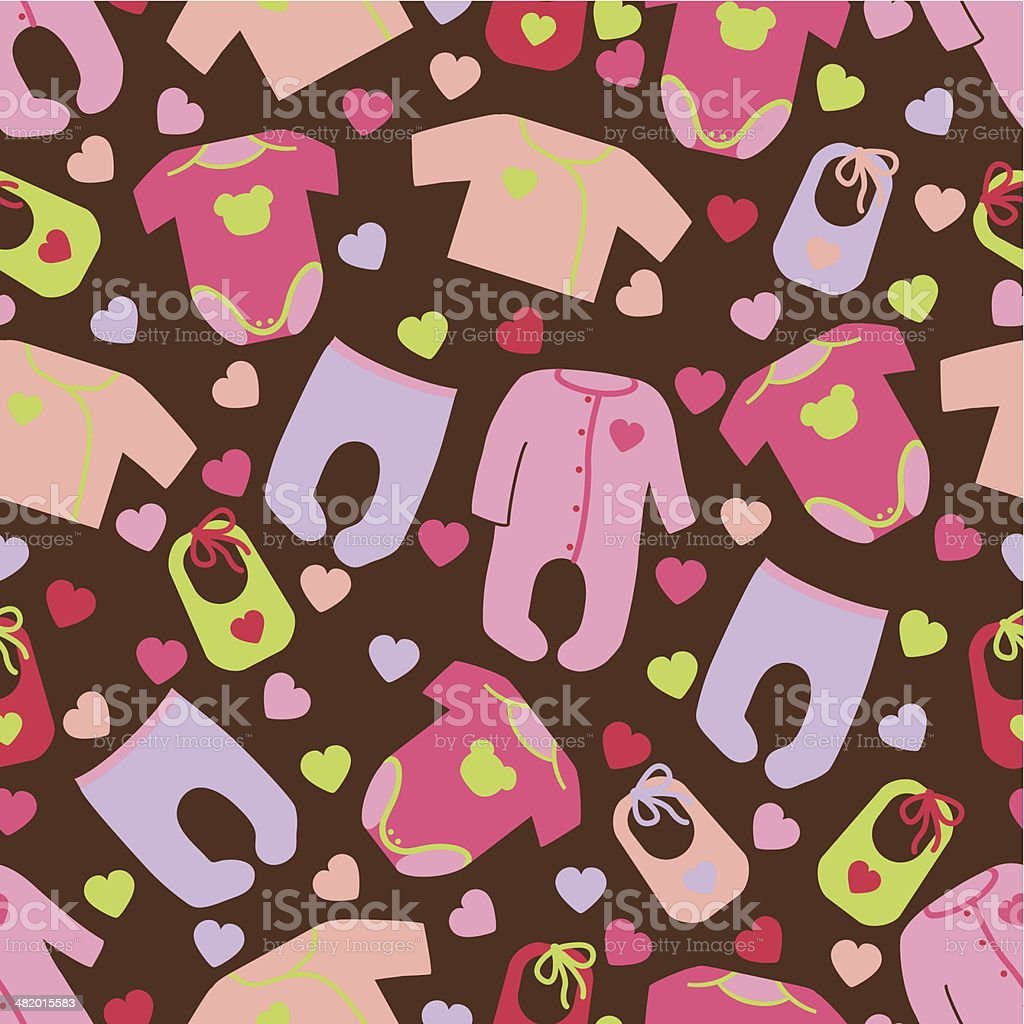 Clothes for newborn baby girl seamless pattern.Baby fashion