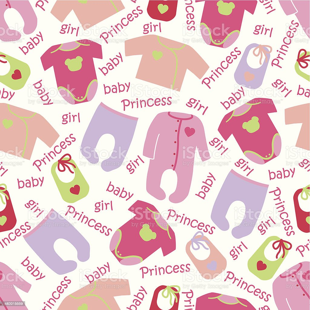 Clothes for newborn baby girl seamless pattern.Baby Princess