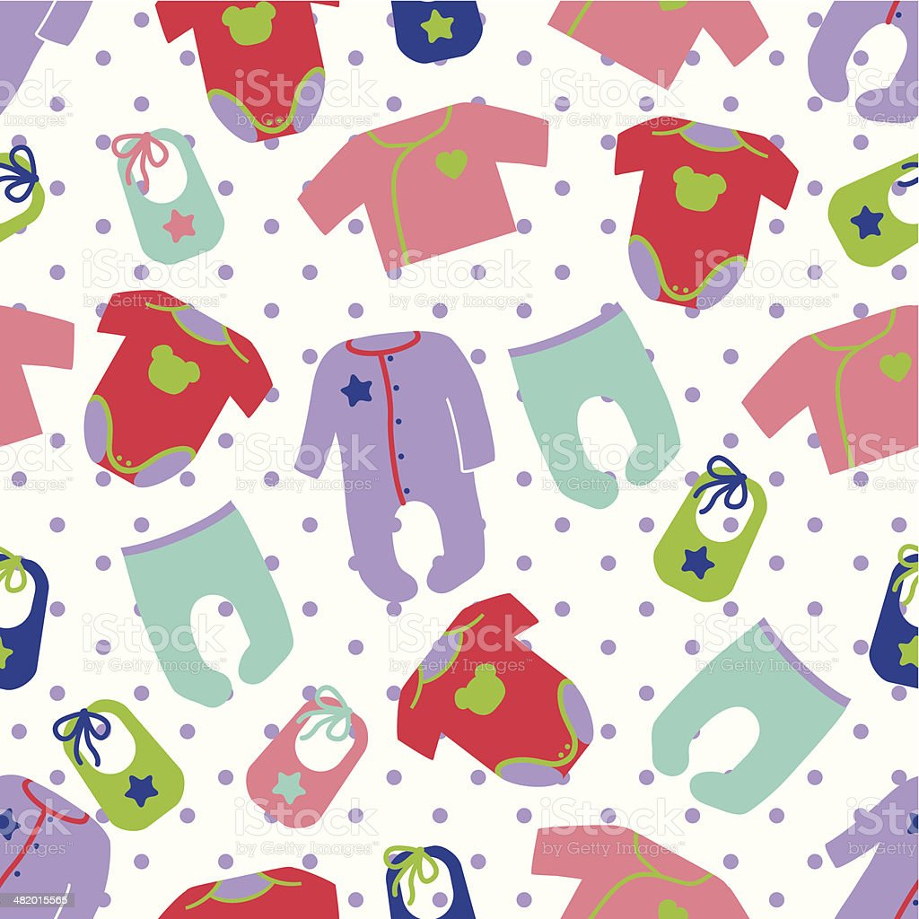 Clothes for newborn baby seamless pattern with polka dot